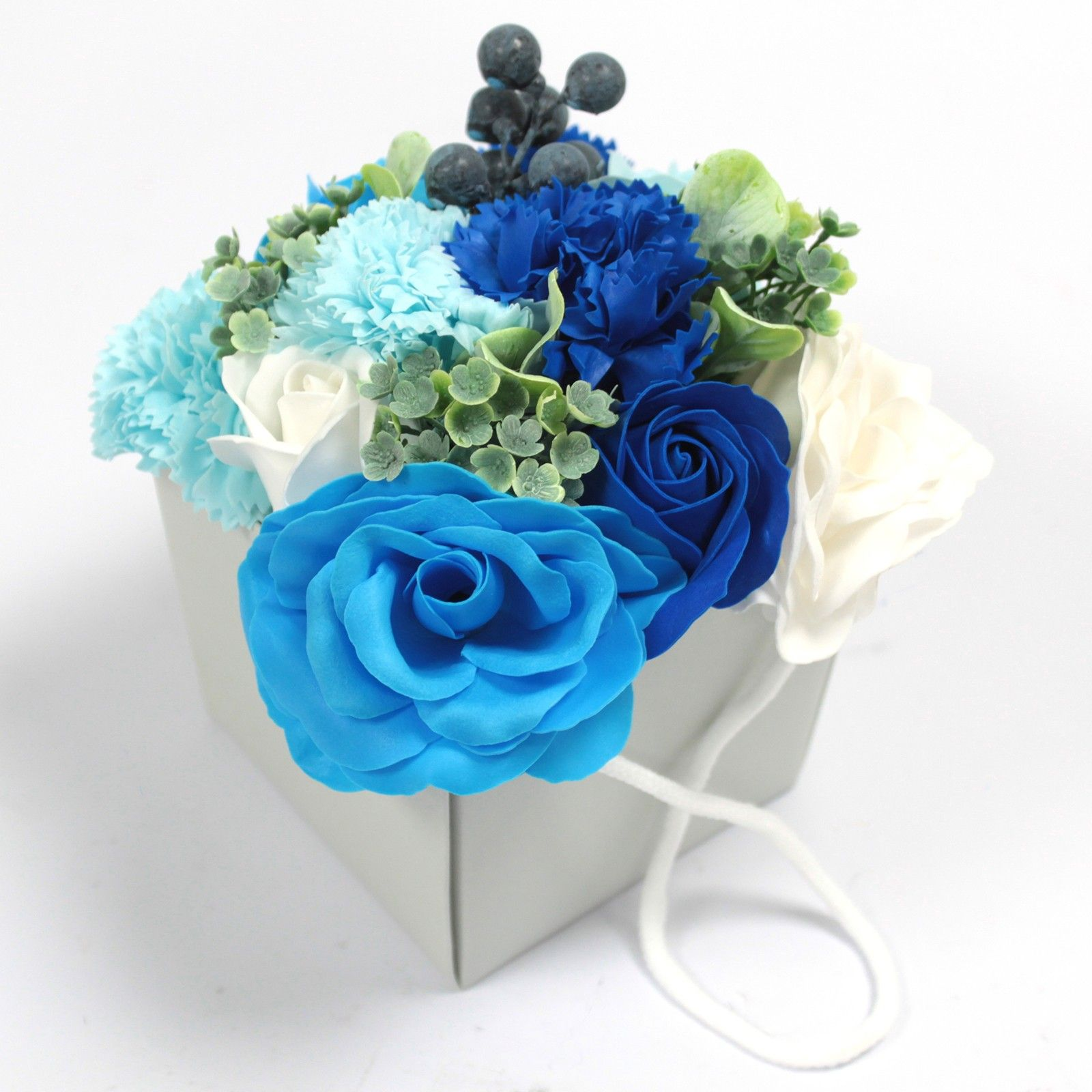Blue Rose And Carnation Soap Flower Bouquet